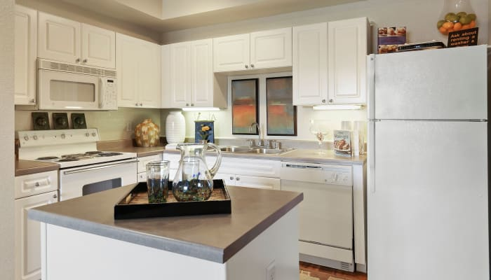 Bright kitchen with plenty of counter space at The Lyndon in Irving, Texas