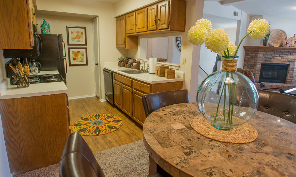 Spacious kitchen at Barrington Apartments in Tulsa, Oklahoma