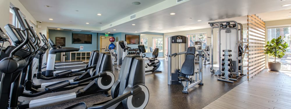 A view of the equipment in the exercise facility at Harborside Marina Bay Apartments in Marina del Rey, California