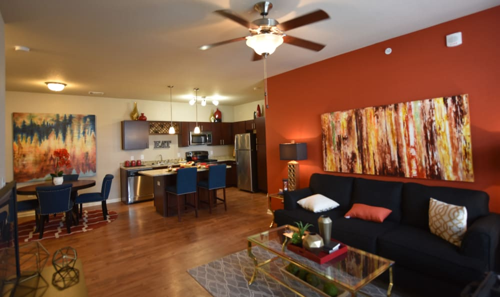 Open concept living room at Springs at Liberty Township Apartments in Liberty Township