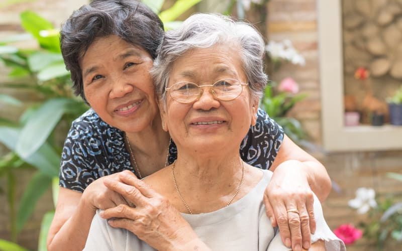 Daughter and mother hug at The Homestead Assisted Living in Fallon, Nevada