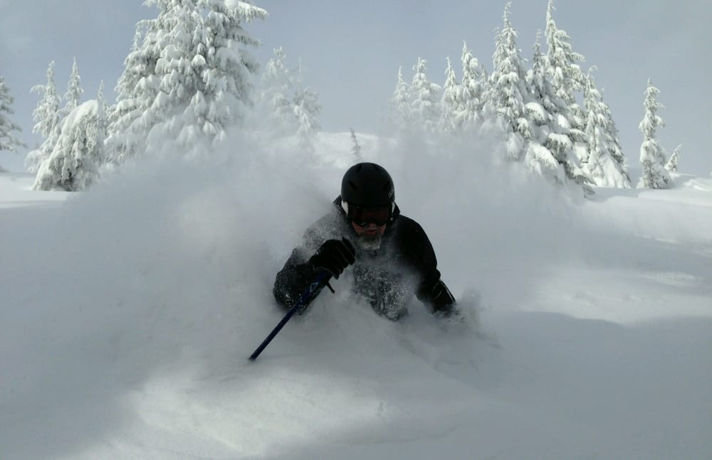 Scott Neil, Executive Director at Touchmark at Mount Bachelor Village in Bend, Oregon, skiing at Mt. Bachelor