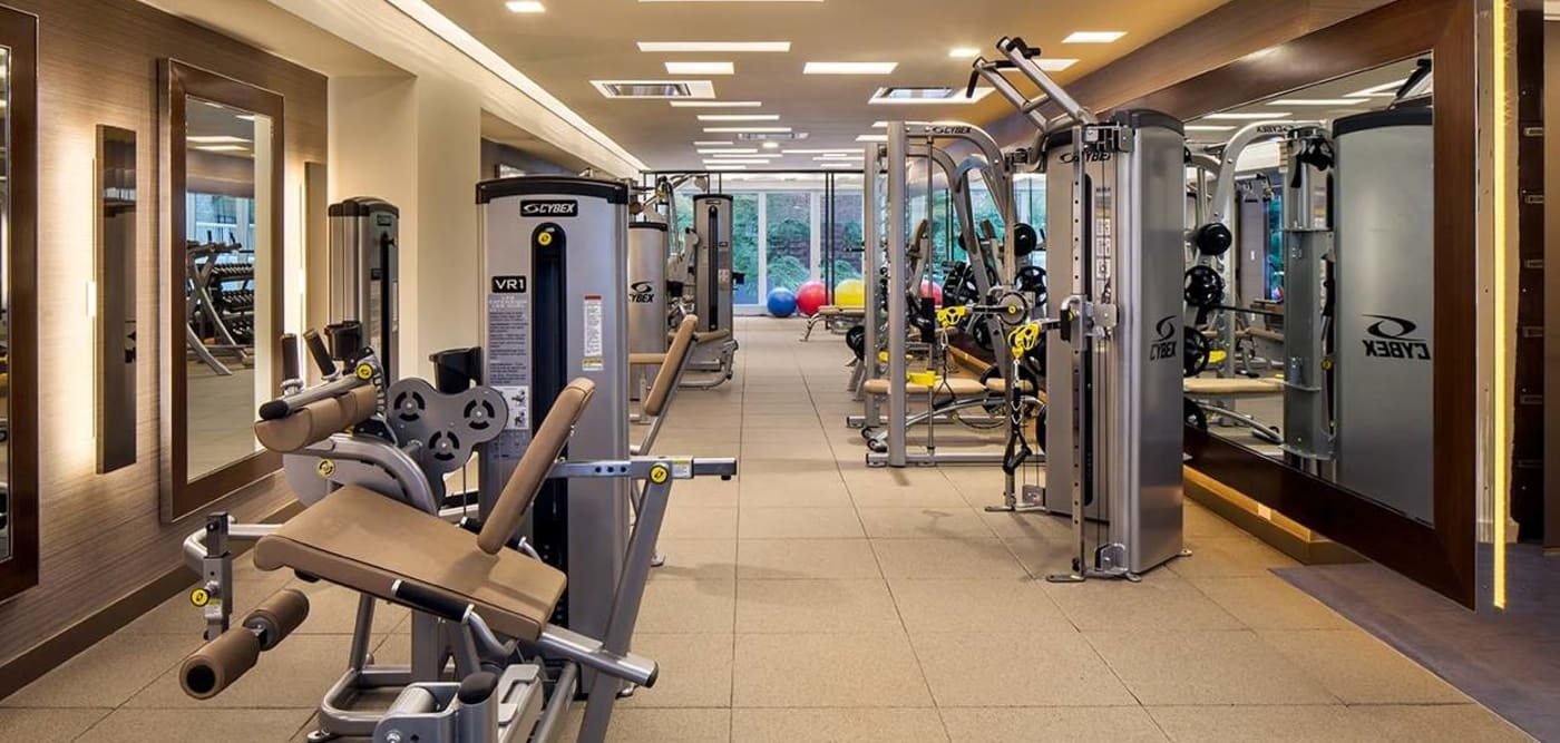 Spacious fitness center at The Larstrand in New York, New York