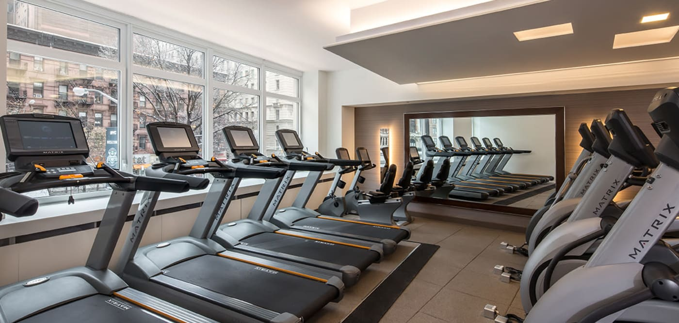 Fitness center with lots of treadmills at The Larstrand in New York, New York