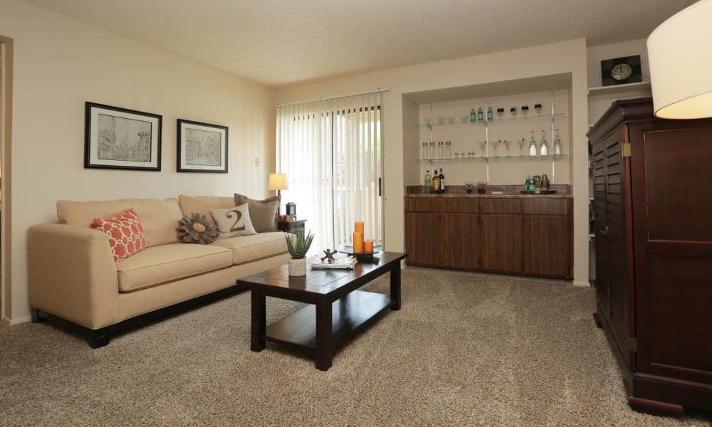 Spacious living room at High Ridge Apartments in El Paso, Texas