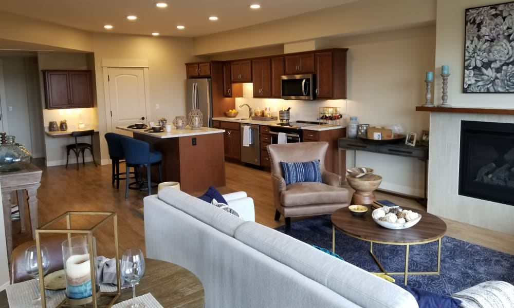An independent living living room at Touchmark at All Saints in Sioux Falls, South Dakota