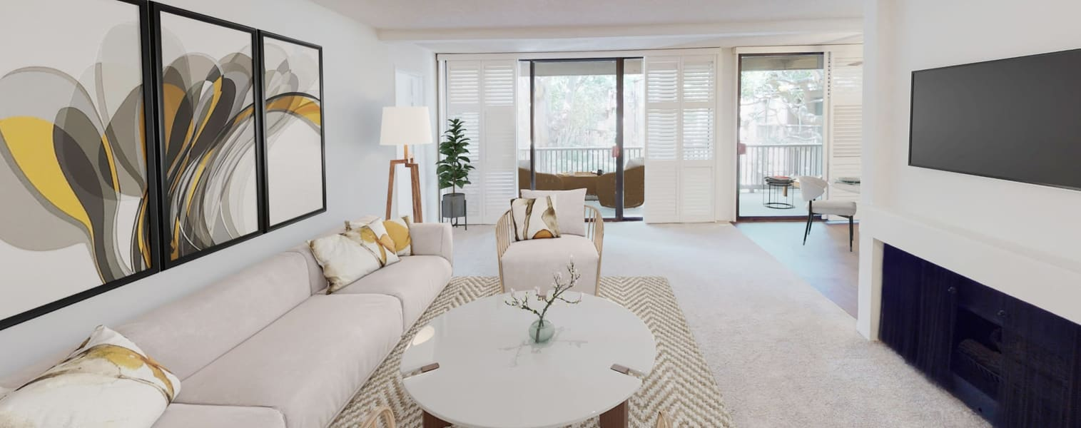 Welcoming open-concept living area in a luxury three bedroom apartment home at Mariners Village in Marina del Rey, California