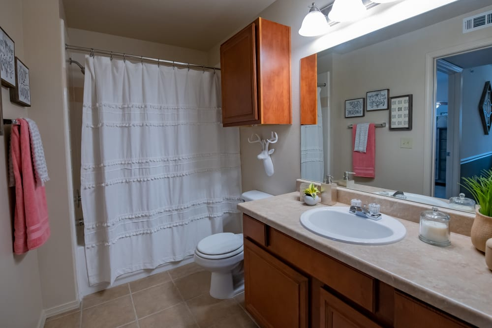 Spacious bathroom with shower and tub combo at Nickel Creek Apartments in Tulsa, Oklahoma