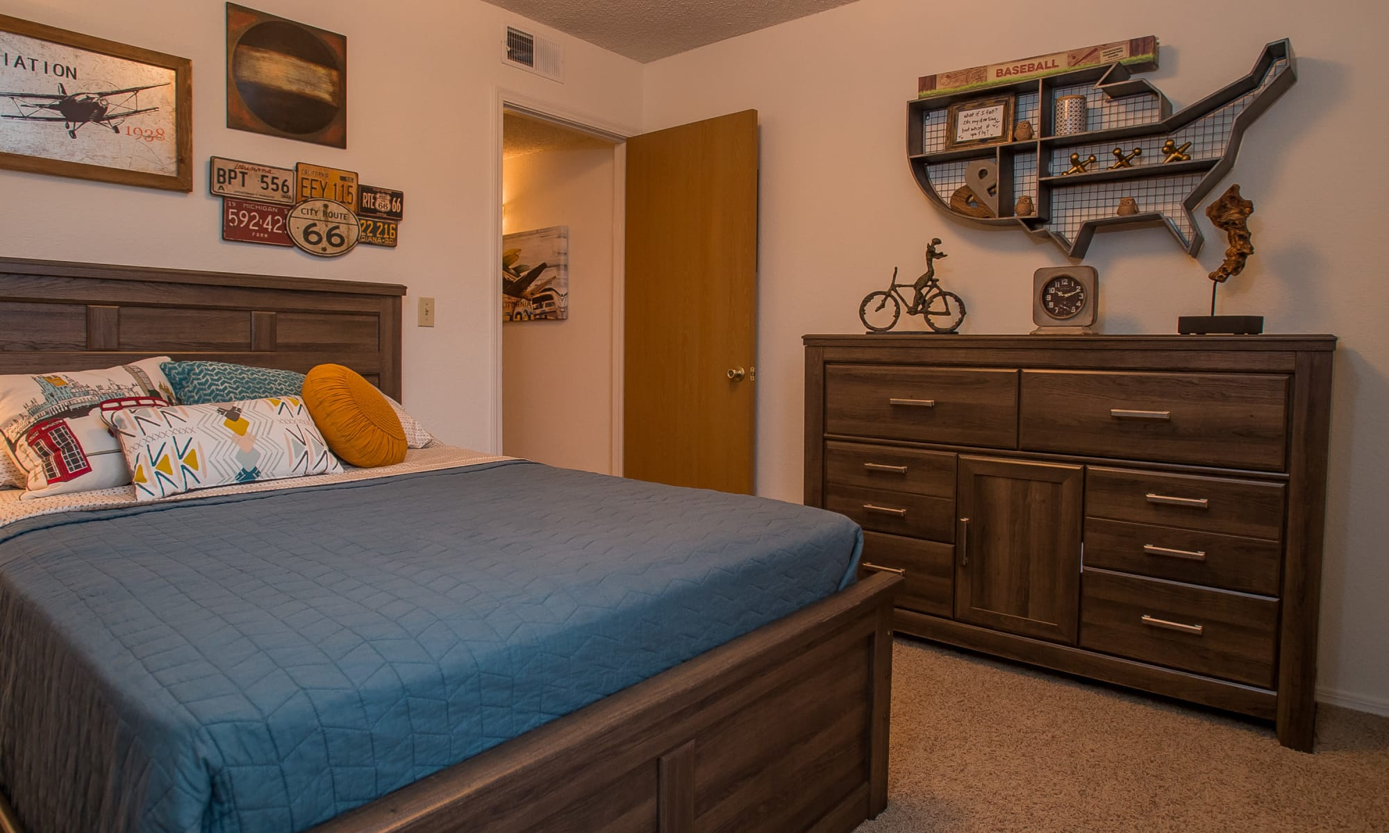Model bedroom at Copperfield Apartments in Oklahoma City, Oklahoma