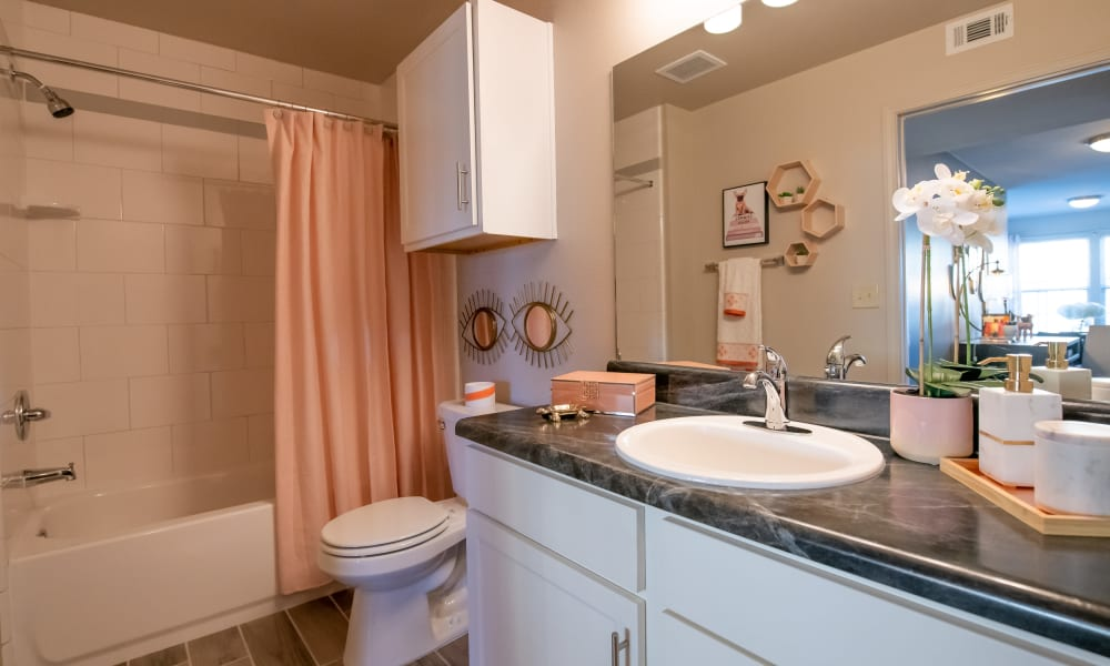 Bright bathroom at Portico at Friars Creek Apartments in Temple, Texas
