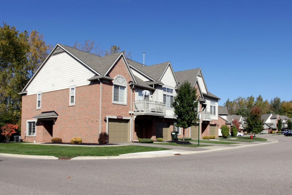 The outside of an apartment at Central Park Estates in Novi, Michigan