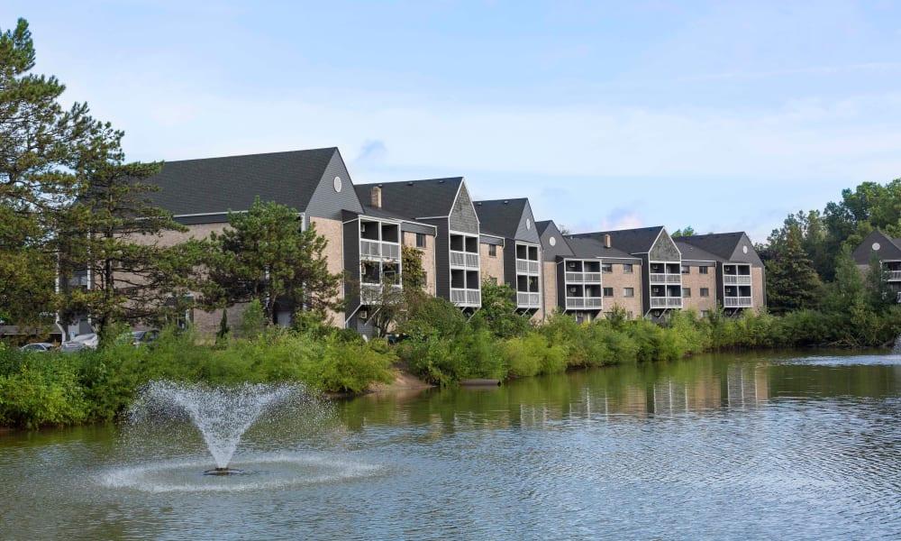 Inviting pond at Kellogg Cove Apartments in Kentwood, Michigan