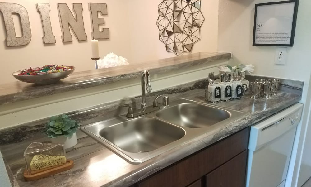 Shiny kitchen sink at The Chimneys Apartments in El Paso, Texas