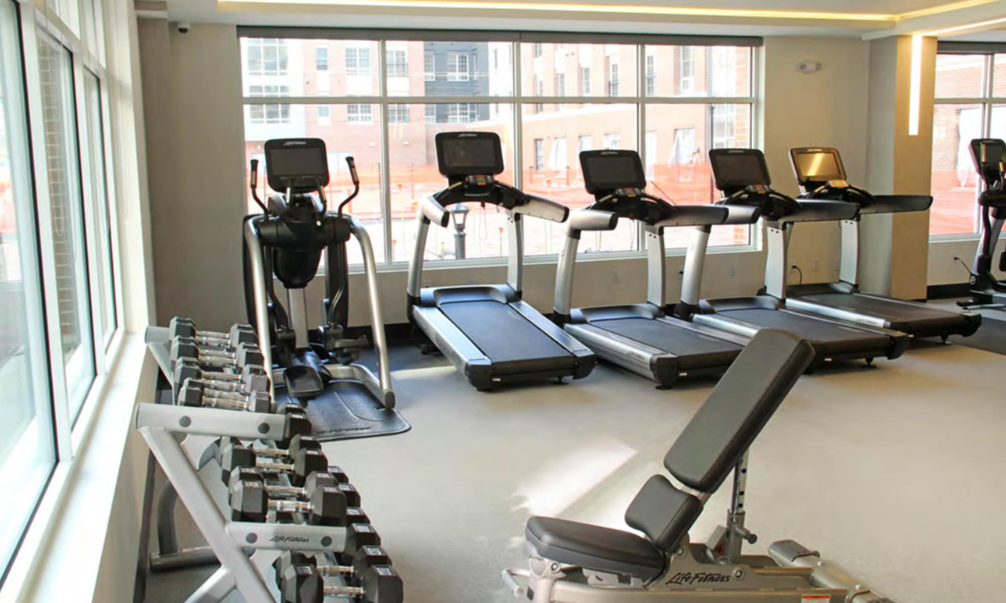 Enjoy our modern firtness center at The Harper at Harmon Meadow in Secaucus