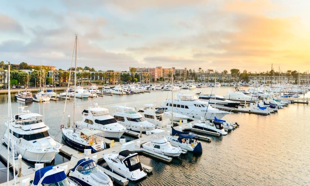 Boats in slips at the marina at Marina Harbor in Marina del Rey, California