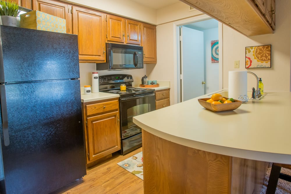 Kitchen at Barrington Apartments in Tulsa, Oklahoma
