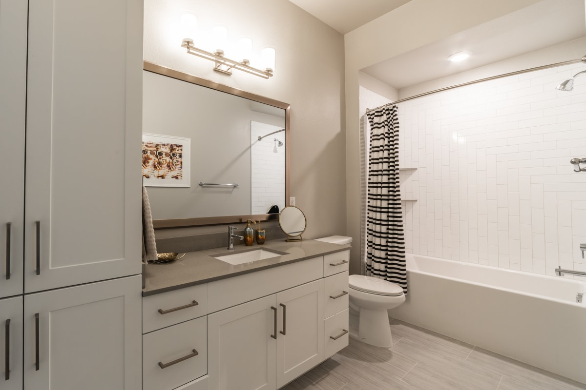 Clean bathroom at The Clark in Austin, Texas