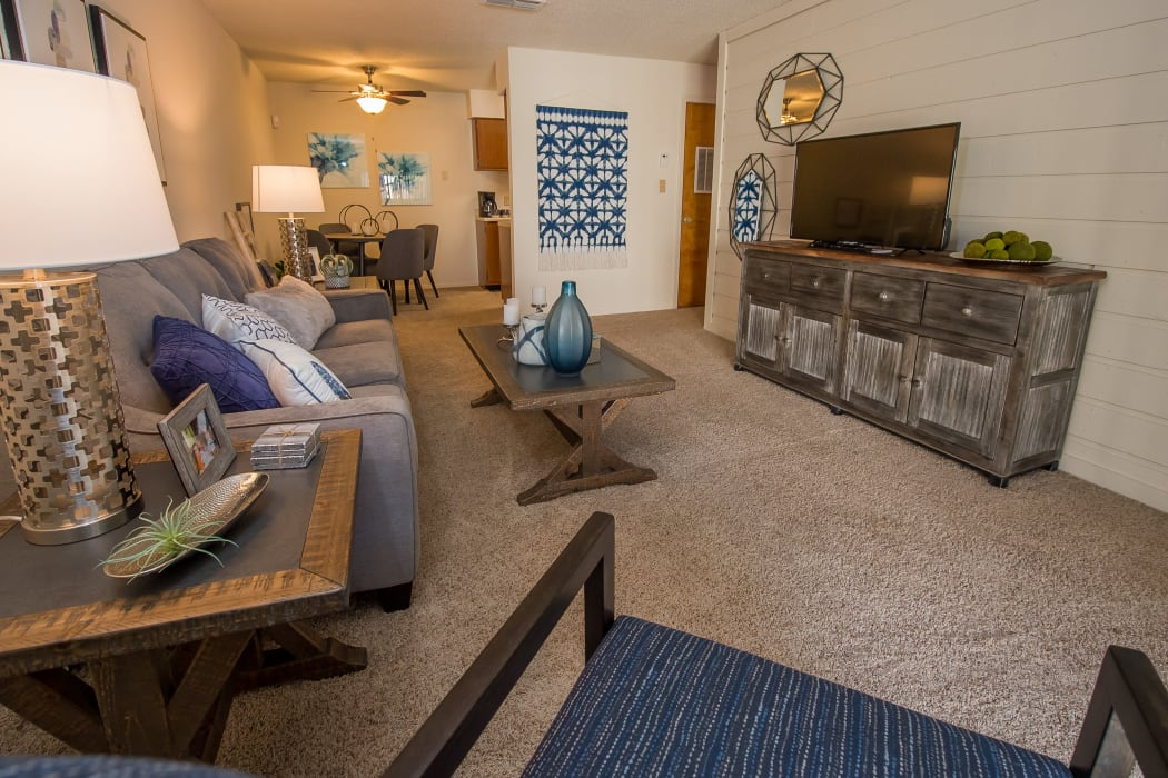 Wonderful living room at Sunchase Apartments in Tulsa, Oklahoma