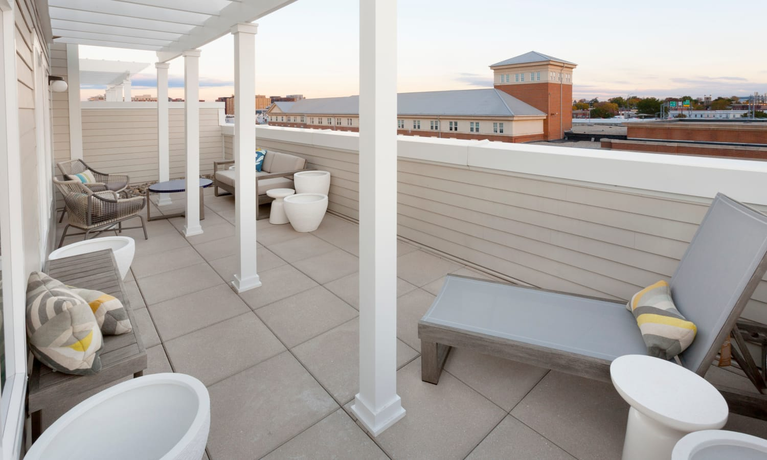 Expansive private deck with a gorgeous view of the city at The Bixby in Washington, District of Columbia