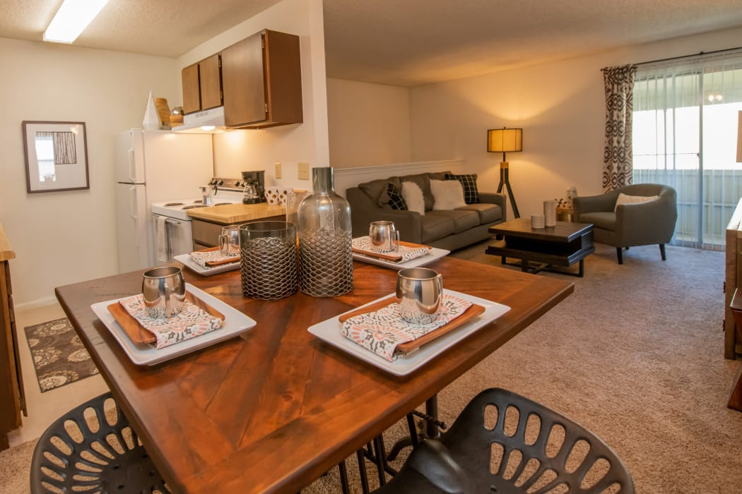 Wonderful living, dining and kitchen at Fox Run Apartments in Wichita, Kansas