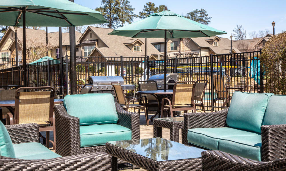 Luxury pool furniture at Townhomes at Chapel Watch Village in Chapel Hill, North Carolina