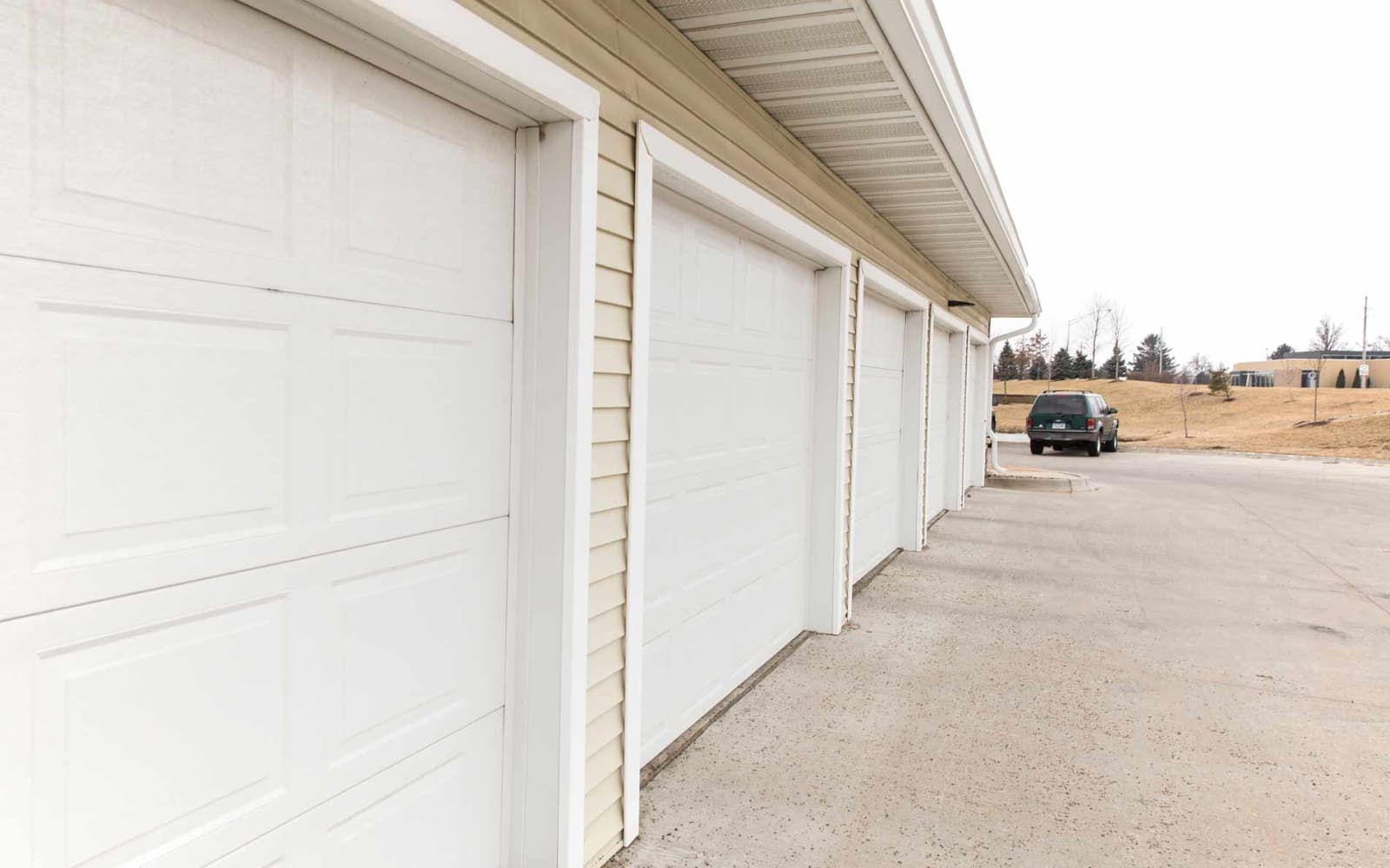 Resident garages at Woodland Reserve in Ankeny, Iowa