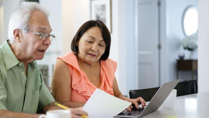 Seniors financial planning at lap top