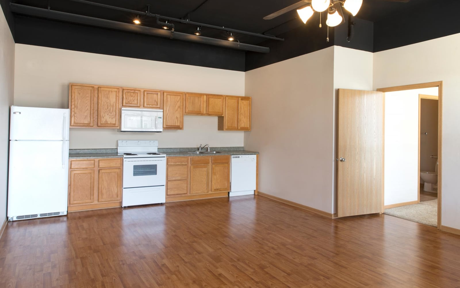 Single bedroom apartment kitchen and living room at West Towne in Ames, Iowa