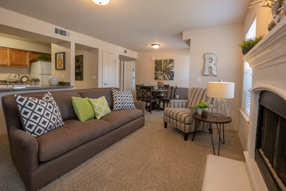 Bright living room at Remington Apartments in Amarillo, Texas