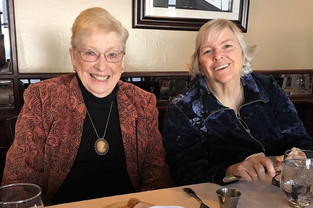 Two ladies smiling out to lunch in Auburn, WA