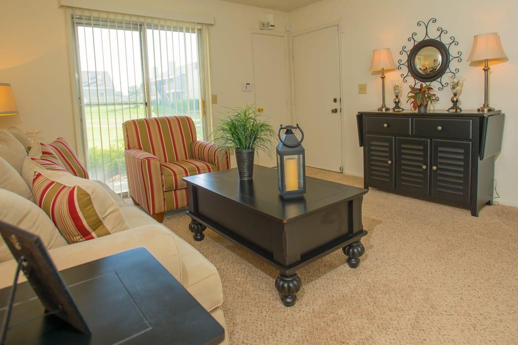 Wonderful living room at Riverpark Apartments in Tulsa, Oklahoma