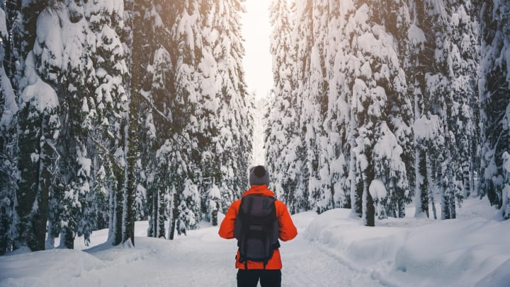 Man dress in a red coat and black hat with a backpack standing on a snow-covered road looking at trees covered in snow