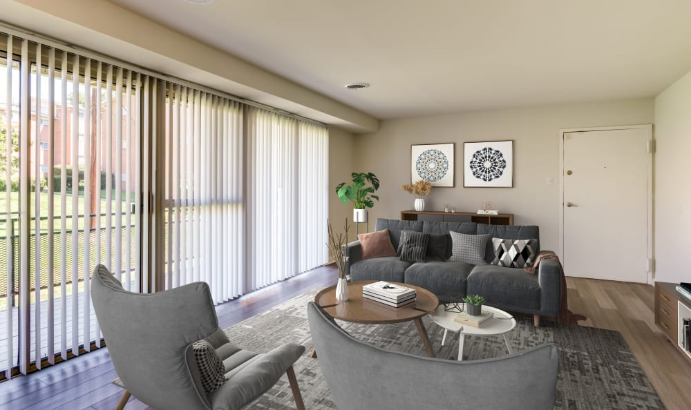 Living room with tons of natural light at Capital Crossing in Suitland, Maryland
