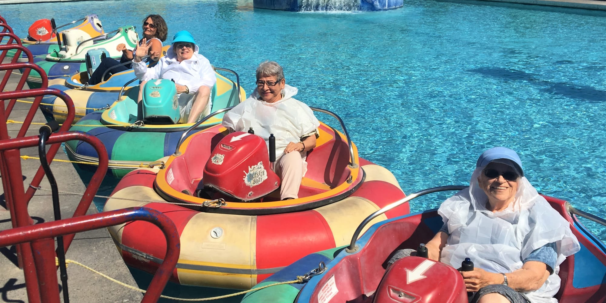Residents from Ashwood Meadows Gracious Retirement Living in Johns Creek, Georgia, on a water ride