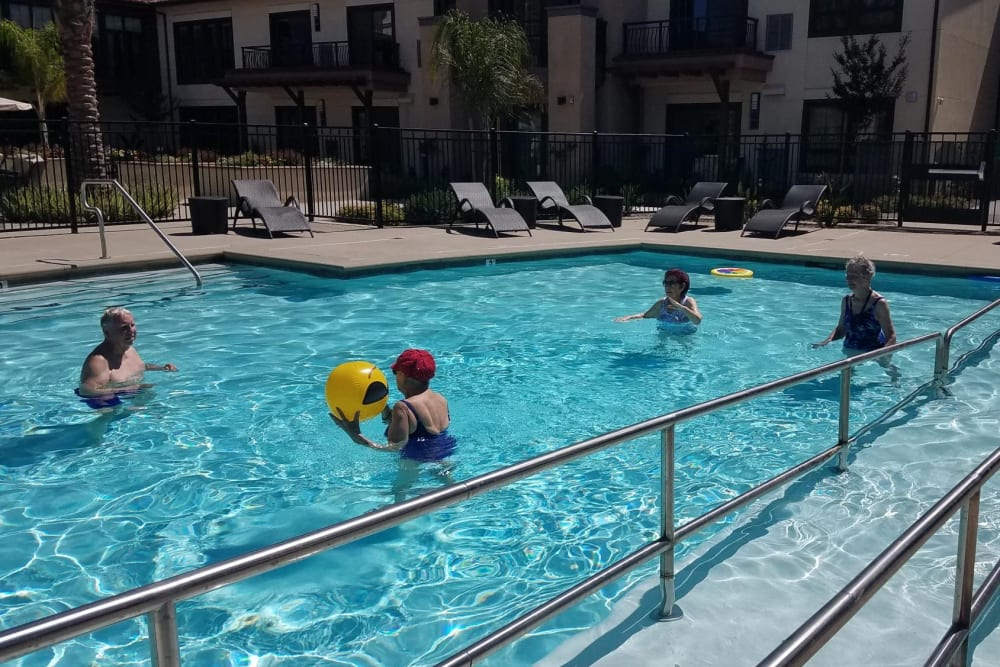 Enjoying the pool at Merrill Gardens at Rancho Cucamonga in Rancho Cucamonga, California.