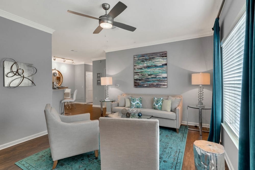 Spacious, well decorated living room at Palms at World Gateway in Orlando, Florida