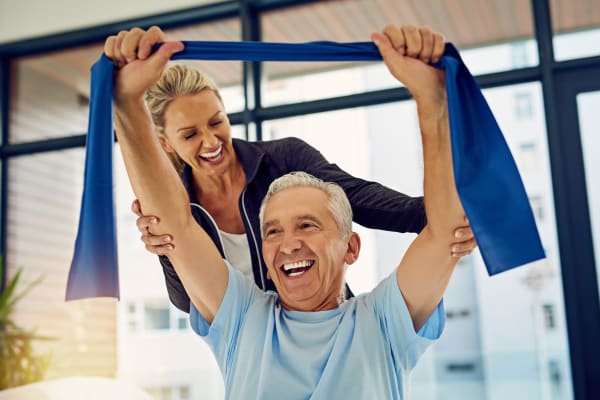 Resident working with a physical trainer at York Gardens in Edina, Minnesota