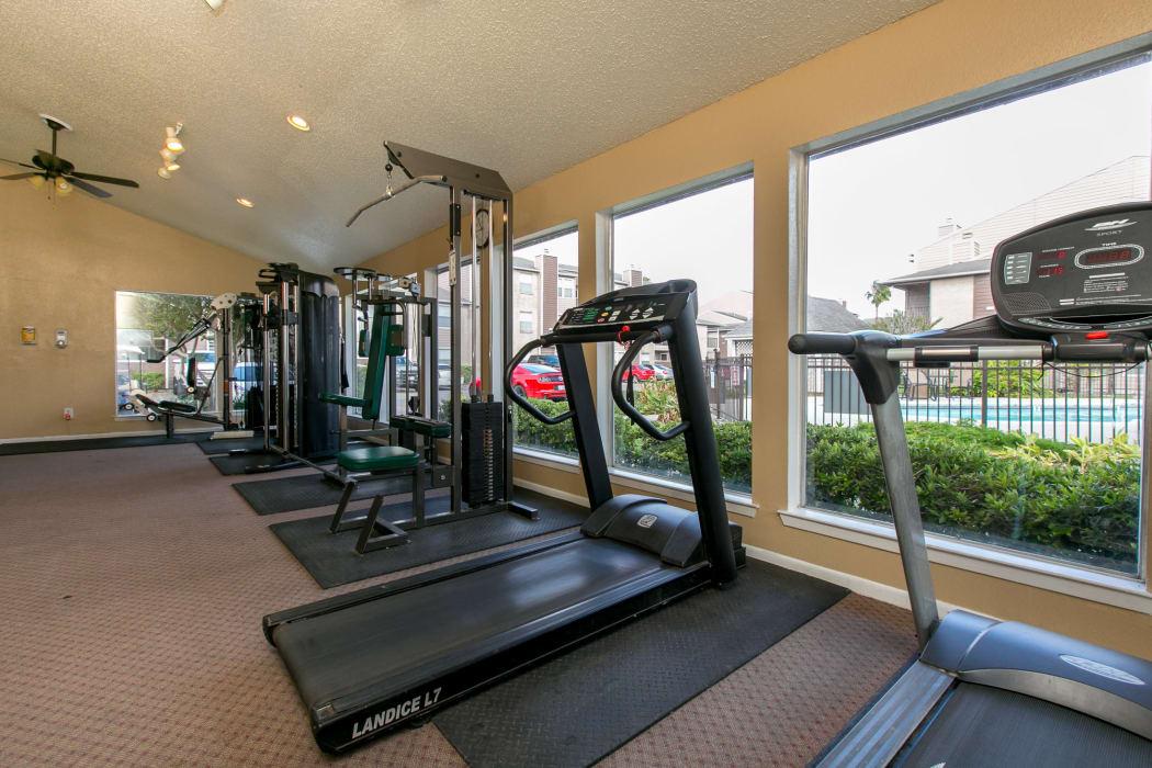 Treadmill in the fitness center at Walnut Ridge Apartments in Corpus Christi, Texas