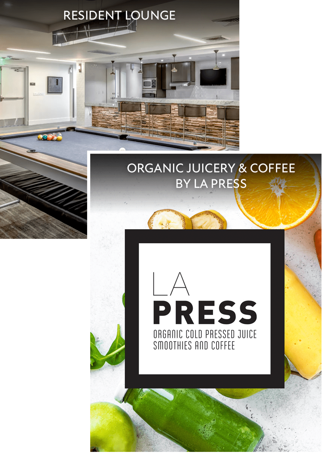 Collage with a view of the billiards table in the clubhouse and an LA Press juicery graphic at Esprit Marina del Rey in Marina del Rey, California