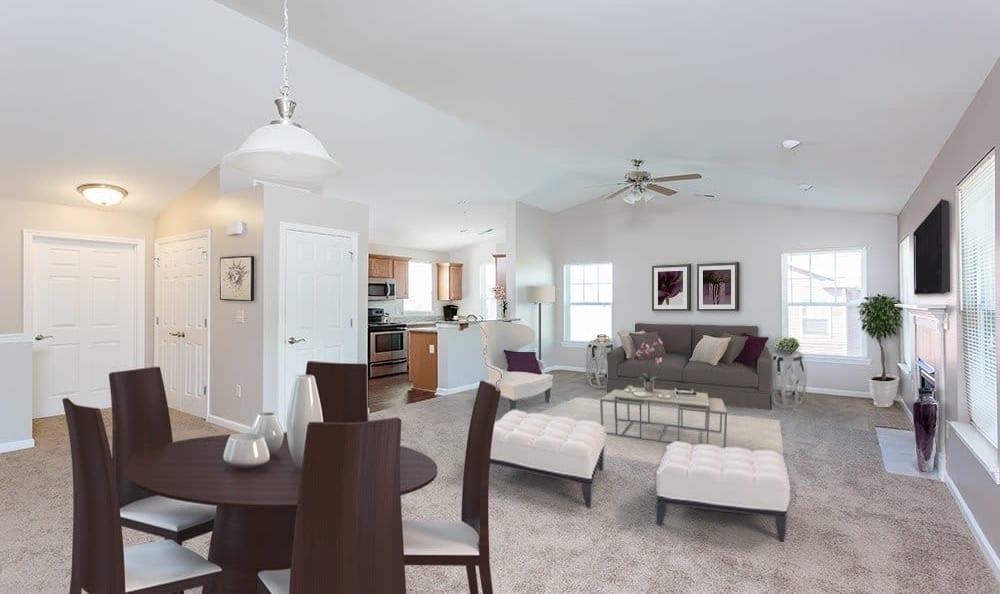 Dining area and living roomat Webster Green in Webster, New York