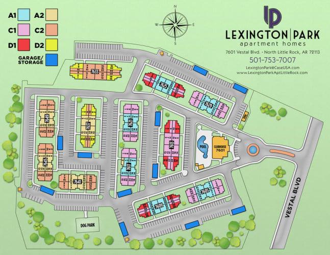 Site map for Lexington Park Apartment Homes in North Little Rock, Arkansas