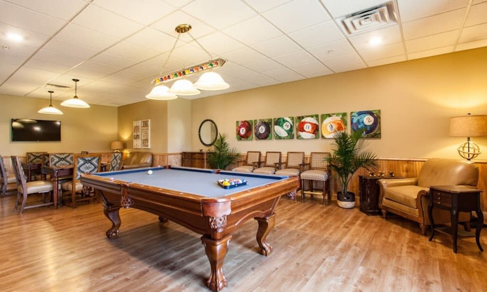 A billiards room at Keystone Place at Forevergreen in North Liberty, Iowa