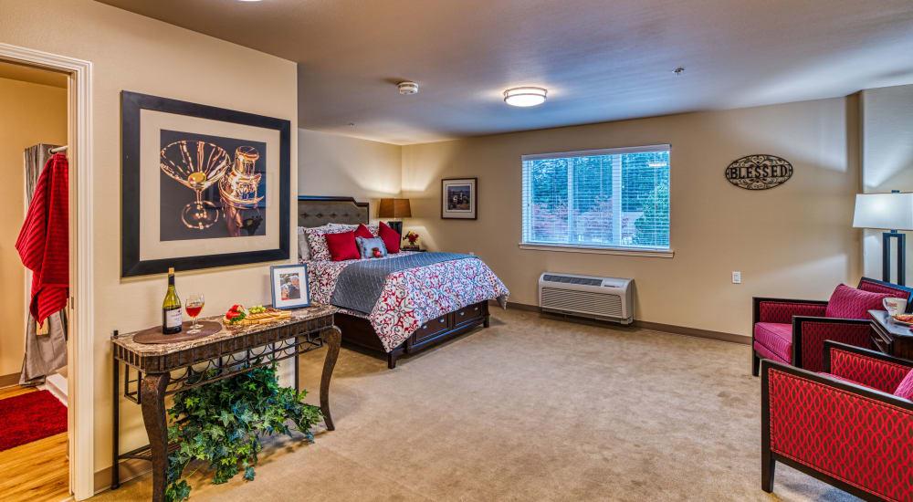 A model resident bedroom at Patriots Landing in DuPont, Washington.