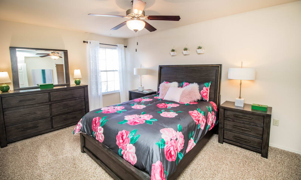 Bright bedroom at Tuscany Place in Lubbock, Texas.