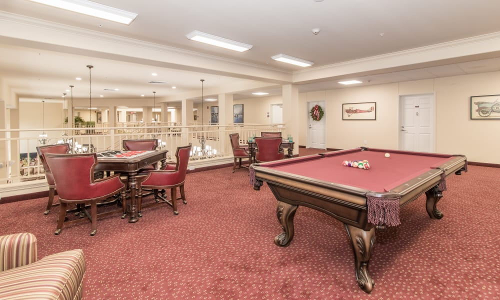 Game Room for residents at Linwood Estates Gracious Retirement Living in Lawrenceville, Georgia