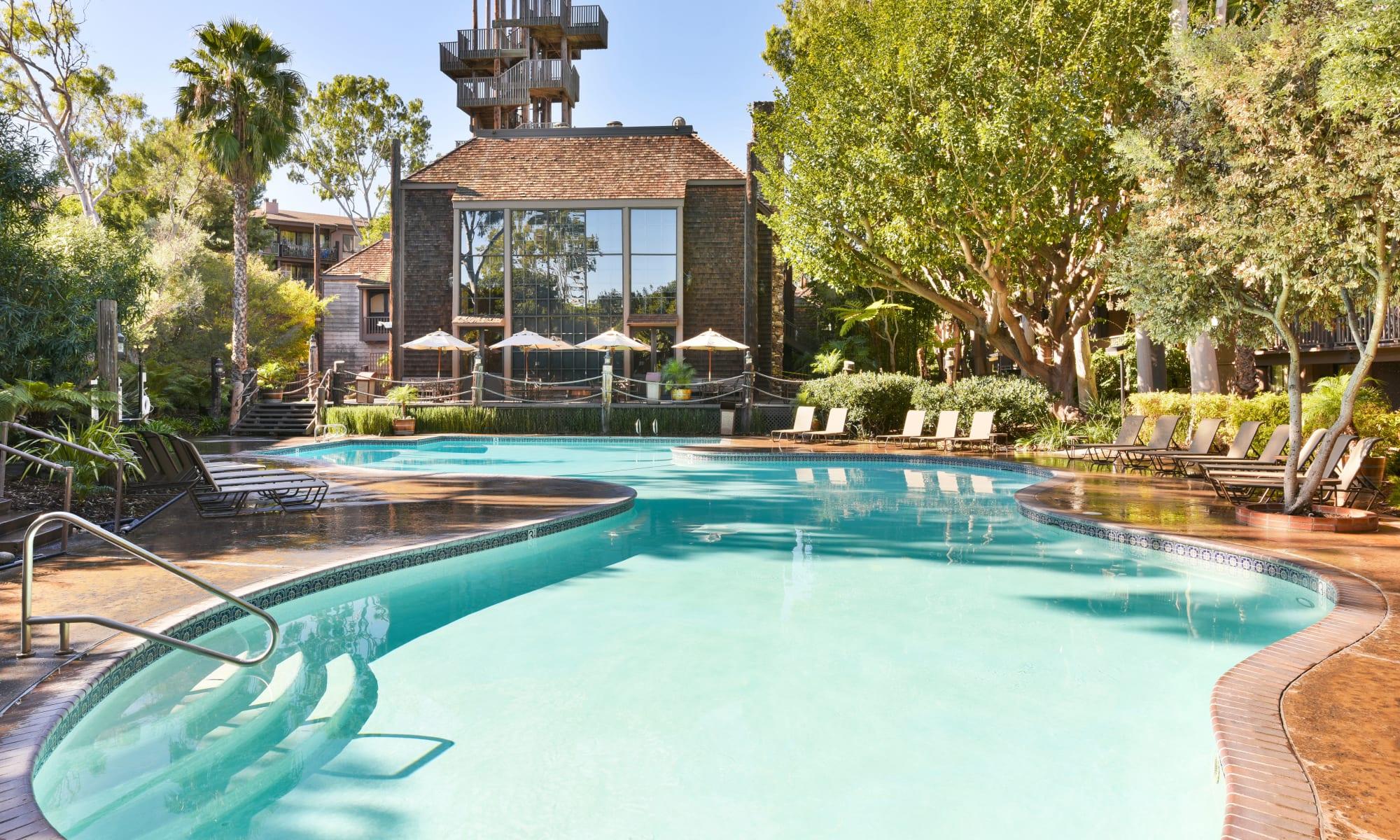 Resort-style swimming pool at Mariners Village in Marina del Rey, California