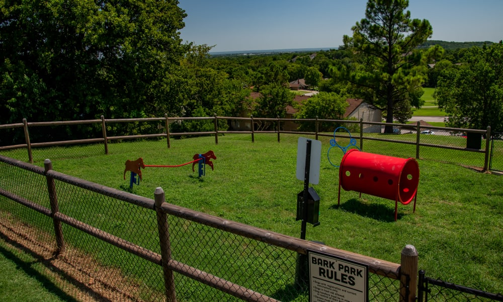 Onsite bark park at Eagle Point Apartments in Tulsa, Oklahoma