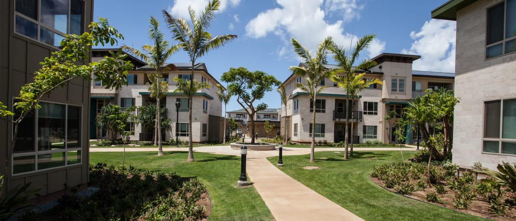 Exterior view of resident buildings at Kapolei Lofts in Kapolei, Hawaii