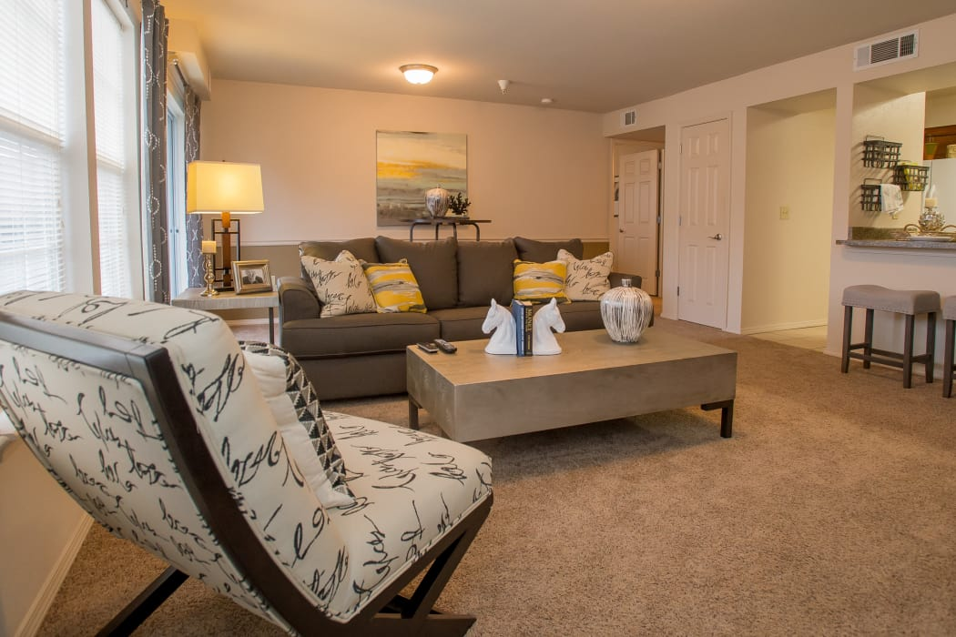 Living room at Villas of Waterford Apartments in Wichita, Kansas