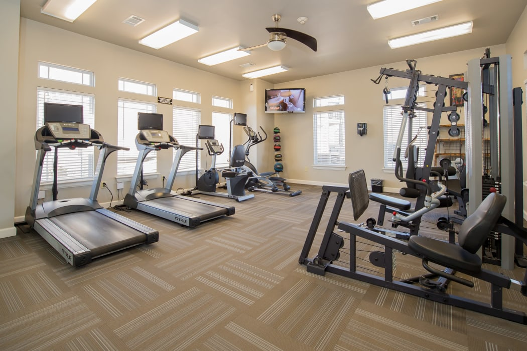 Fitness center for residents at The Park on Westpointe in Yukon, Oklahoma